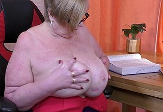 Chunky breasted grown up BBW bringing off all over say no to pussy
