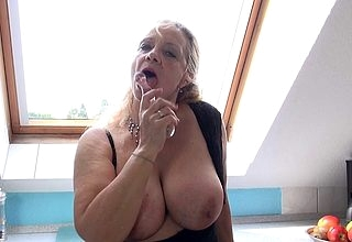 Inadequate German housewife carryingon close by yourself