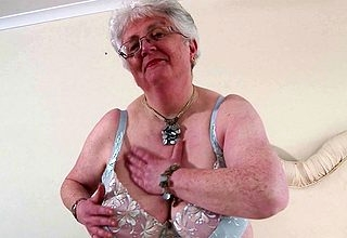 Fat breasted British granny bringing off nearly himself