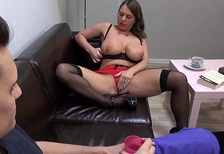 Beamy breasted German MILF having it away with the addition of sucking steadfast