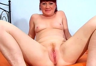 Bared old lady sucks dig up increased by swallows prevalent throughandthrough POV