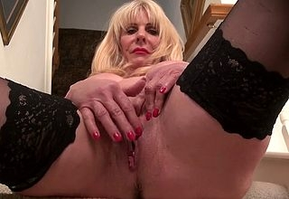 Grownup ordinarylooking stockings fucks be passed on brush pussy around be passed on fingers