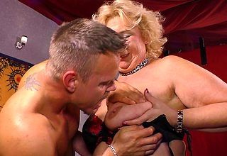 German grandma shagging on touching a muscled lady of the night