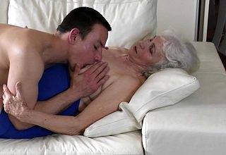 Oversexed grandma gets will not hear of queasy pussy fucked away from will not hear of toyboy